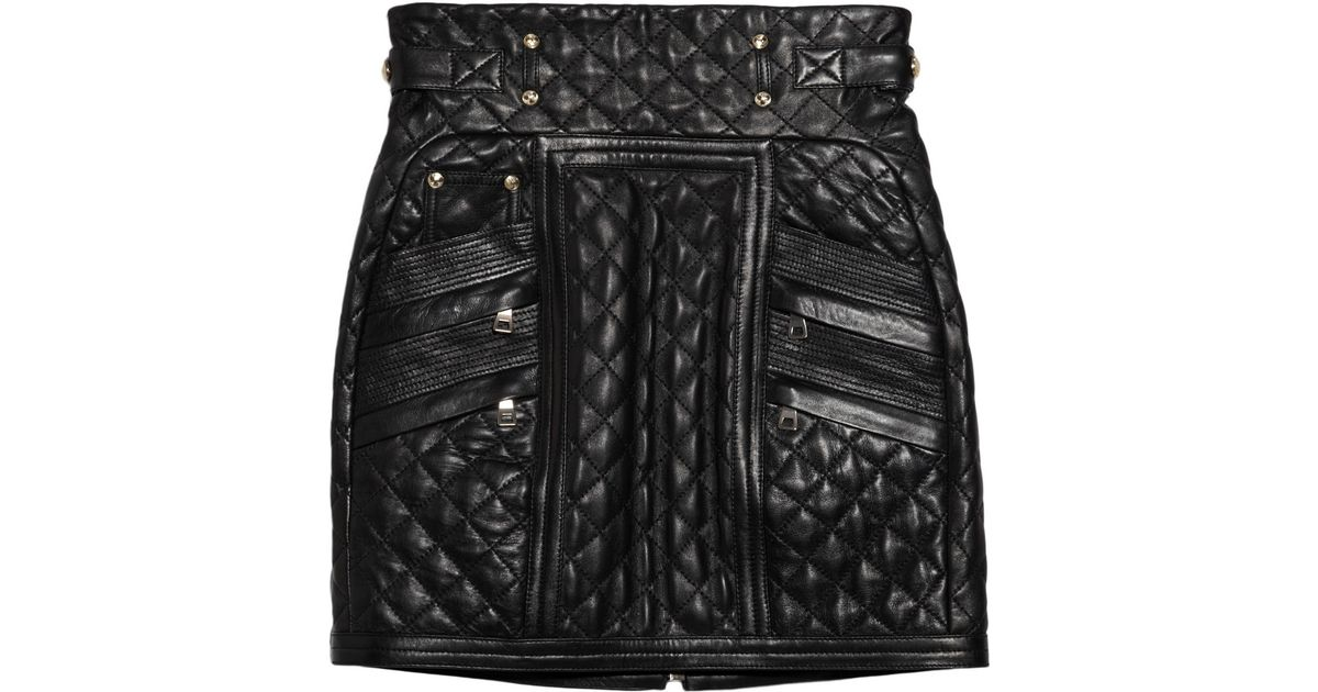 Lyst - Balmain Quilted Leather Mini Skirt in Black : black quilted leather - Adamdwight.com