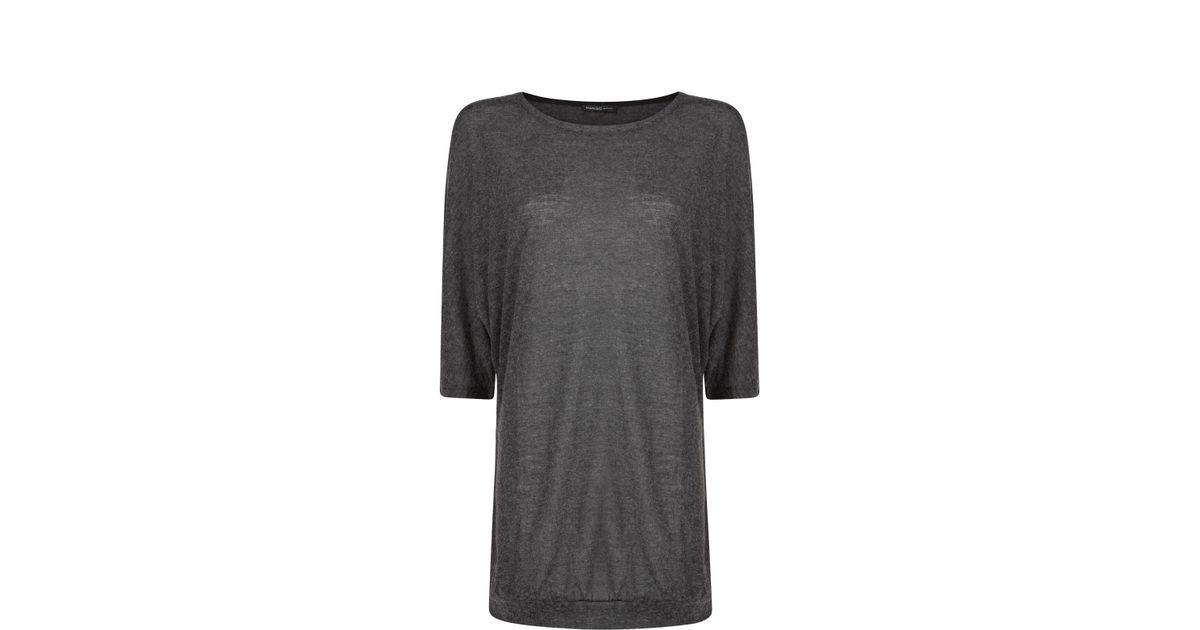 ebab9c2d4 Mango Dolman Sleeve Flecked T-shirt in Gray - Lyst