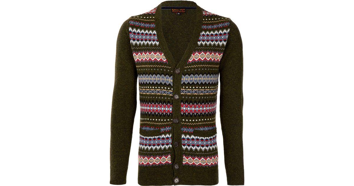 Lyst - Barbour Olive Mildon Fair Isle Wool Cardigan in Green for Men