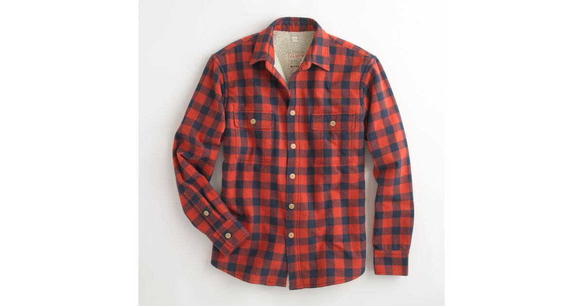 Factory Sherpa Lined Flannel Jacket In Red For Men