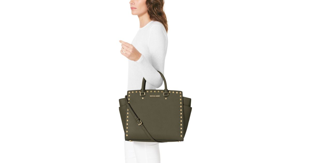 62284ef730af MICHAEL Michael Kors Large Selma Studded Saffiano Tote in Green - Lyst