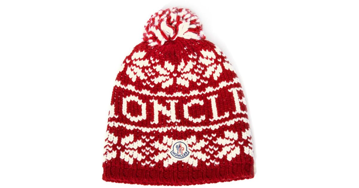 85f220c45b7 ... denmark lyst moncler snowflake beanie hat in red for men 2fa23 19680