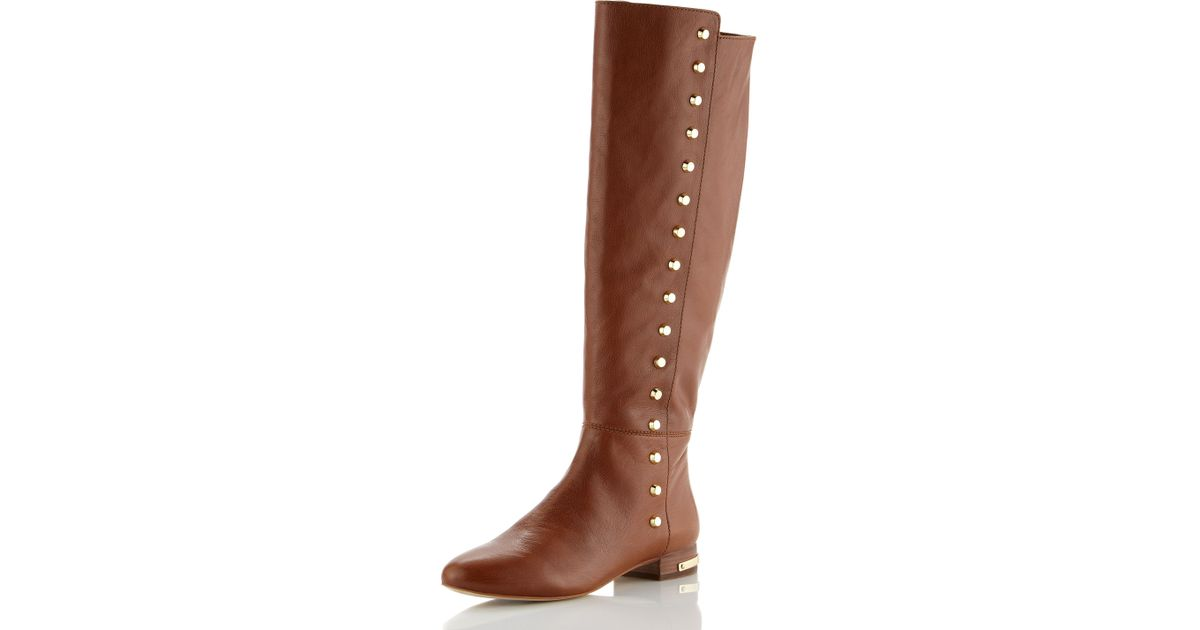 Michael michael kors Ailee Flat Studded Knee Boot in Brown | Lyst