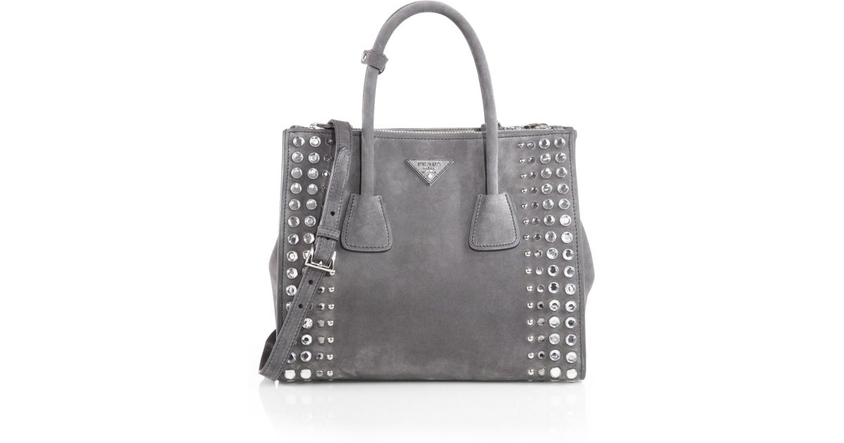 prada bag price - Prada Studded Suede Twin Pocket Tote in Gray (MARMO-GREY) | Lyst