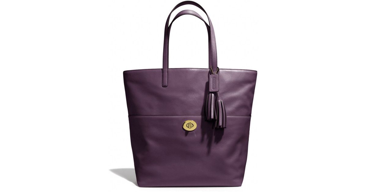 9c89bf44d ... coupon code for lyst coach legacy leather turnlock tote in purple 5ddd9  91c9c
