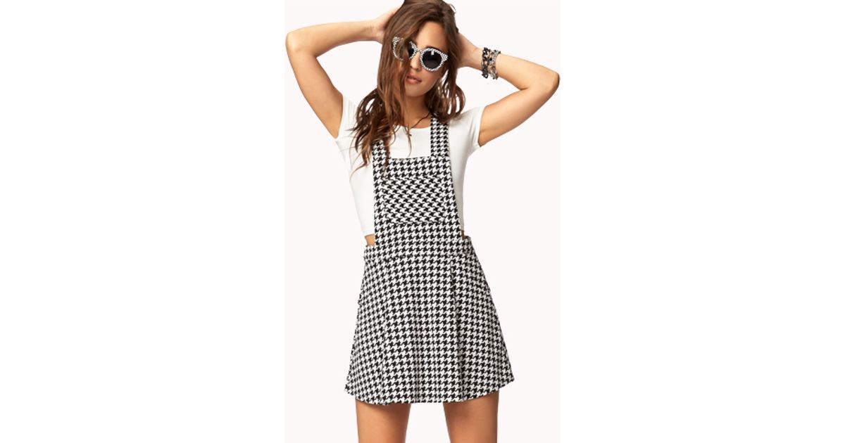 eba05cdb93b Forever 21 Houndstooth Overall Dress in Natural - Lyst