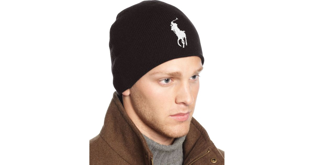Lyst - Ralph Lauren Big Pony Wool Watch Cap in Black for Men 8bcff92b2ca