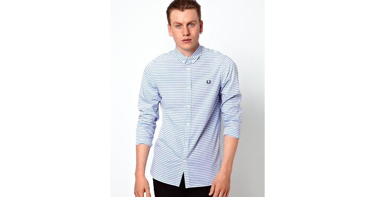 Fred Perry Horizontal Striped Shirt In Blue For Men Lyst