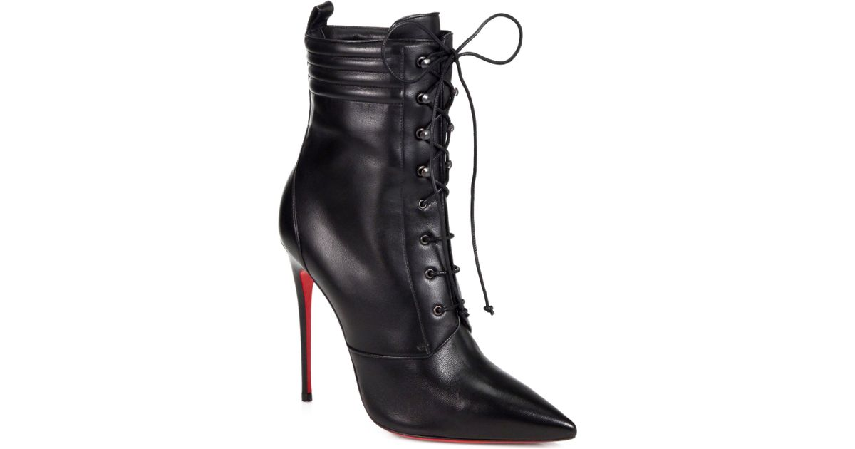 christian louboutin spiked shoes for men - Christian louboutin Mado Leather Lace up Ankle Boots in Black | Lyst