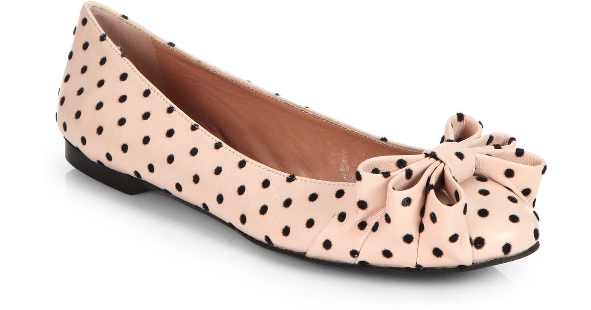 77c4de1b7016 Lyst - RED Valentino Polka Dot Leather Ballet Flats in Pink