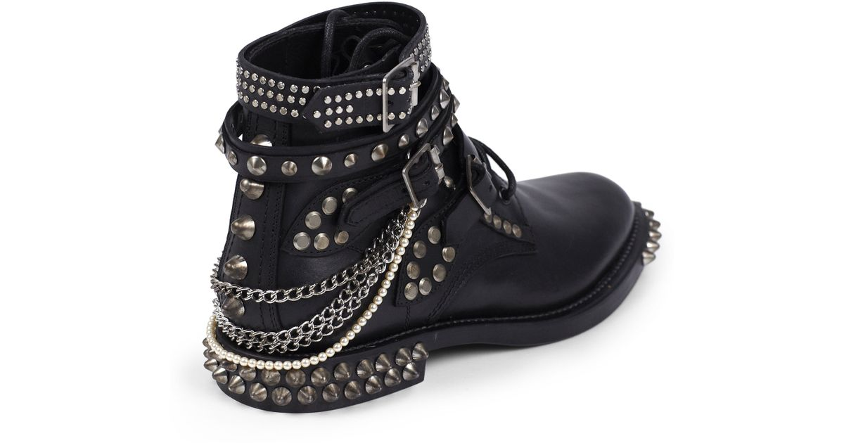 7f9830f397d Saint Laurent Rangers Embellished Leather Lace-up Ankle Boots in Black -  Lyst