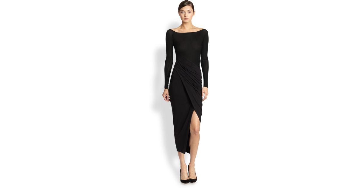 de68c112d3e Donna Karan Spiral Drape Dress in Black - Lyst