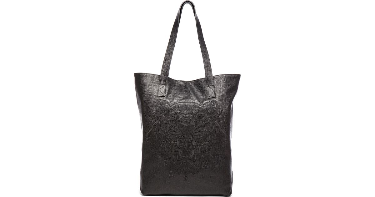 Kenzo Leather Tiger Tote in Black | Lyst