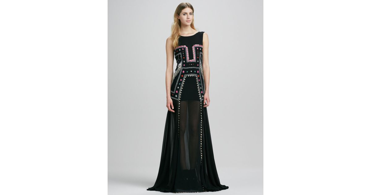 Lyst - Mara Hoffman Embroidered Minilined Backless Gown in Black