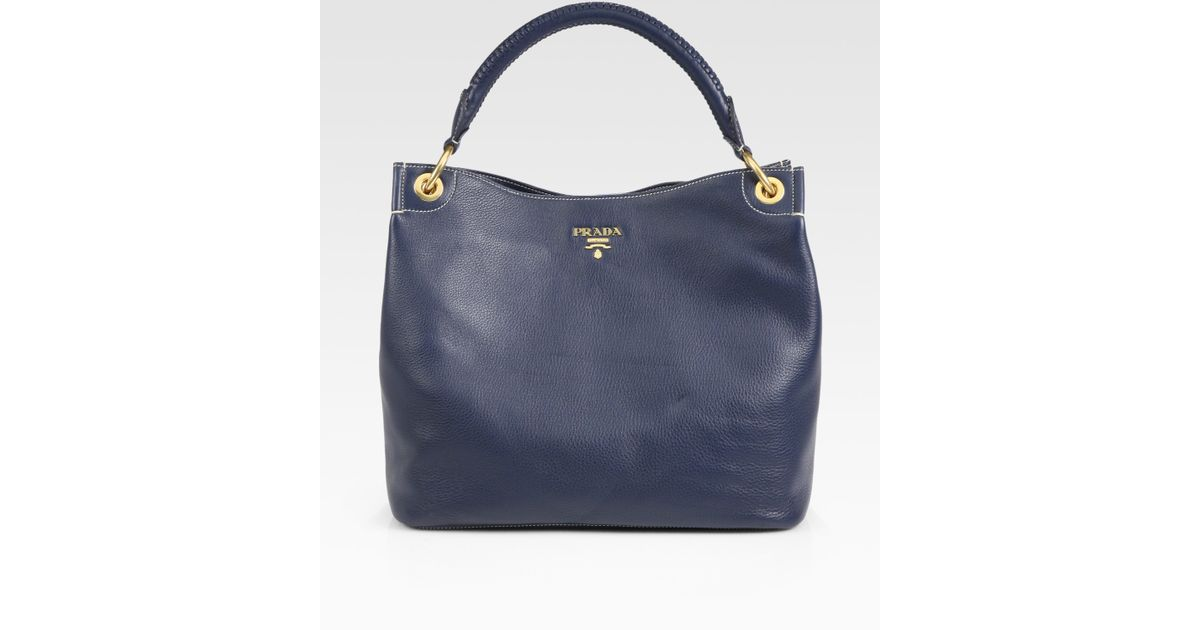 79a5c2d58998 Lyst - Prada Vitello Daino Hobo Bag in Blue