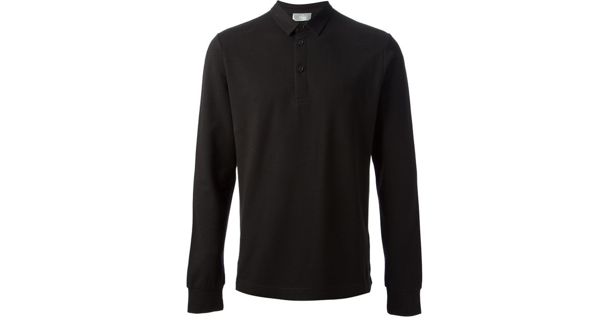 22b89ff4 Dior Dior Long Sleeve Polo Shirt in Black for Men - Lyst