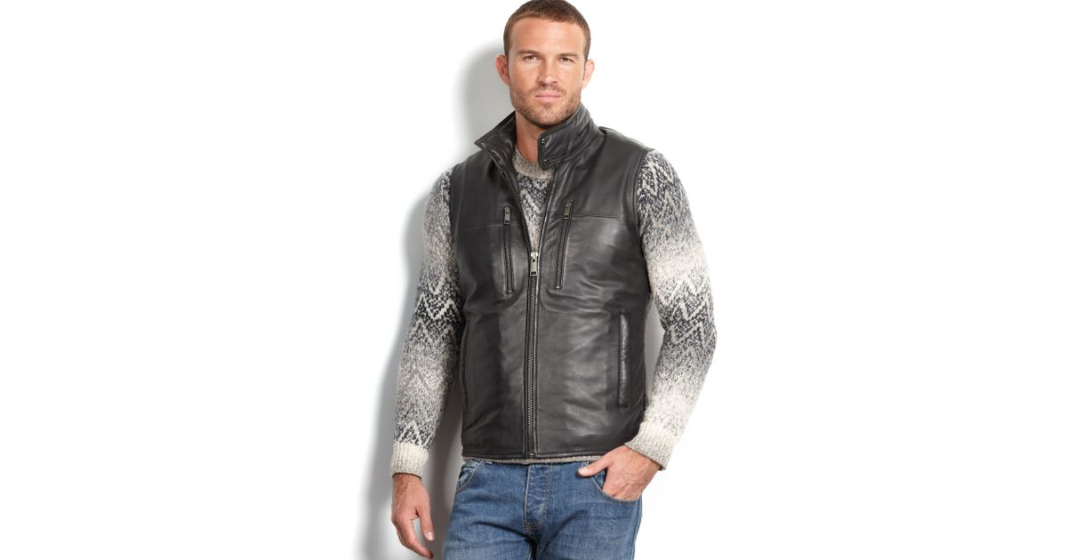 Marc new york Liberty Leather Quilted Vest in Black for Men | Lyst : leather quilted vest - Adamdwight.com