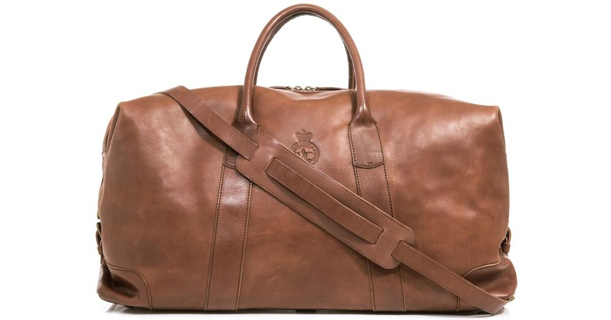 Lyst - Polo Ralph Lauren Leather Weekender Bag in Brown for Men ea26f707e8