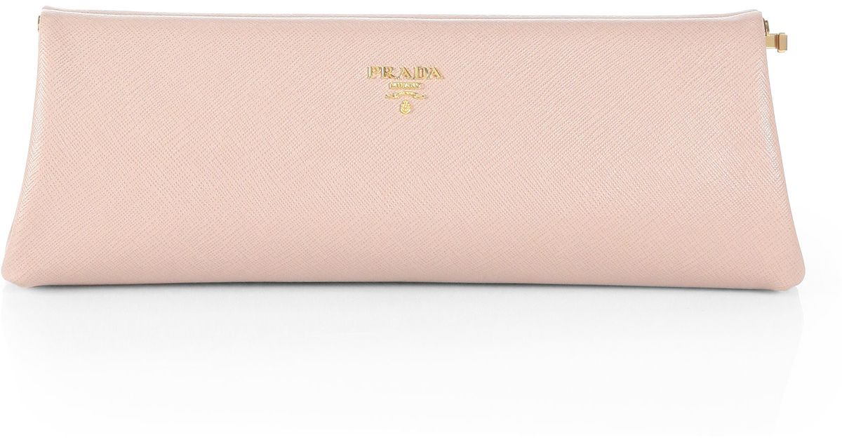 f97e7fb2ac71 Prada Saffiano Leather Frame Clutch in Pink - Lyst