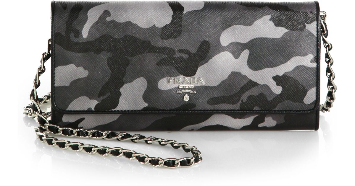 Prada Saffiano Bouquet Wallet On Chain in Gray (CAMOUFLAGE) | Lyst
