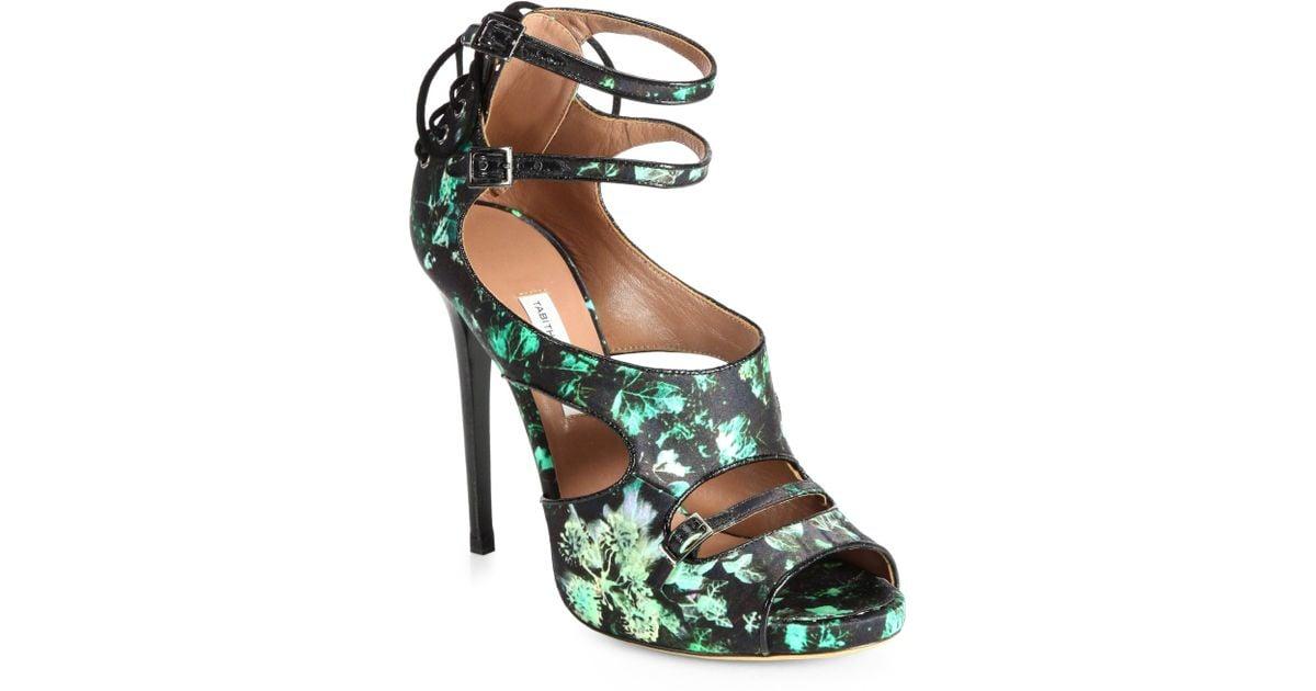 Tabitha Simmons Bailey Ivyprint Satin Sandals In Black Lyst