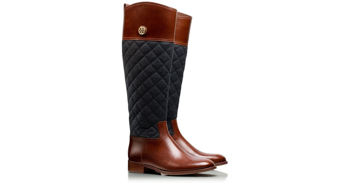ca646bbaf1ff2 australia tory burch flannel leather riding boots 45e74 ff8d7  get lyst tory  burch rosalie riding boot in brown f6de8 e94a3