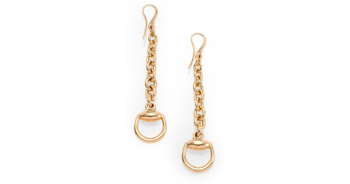 5adeb737298 Lyst Gucci Horsebit 18k Yellow Gold Drop Earrings In Metallic