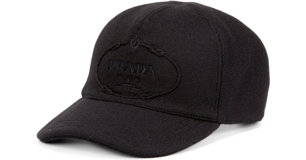Lyst - Prada Wool Logo Baseball Cap in Black for Men 06798befb4f