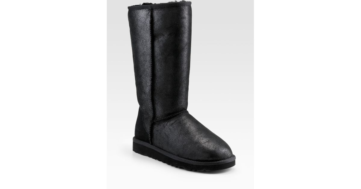 36f9facfd UGG Classic Leather Tall Bomber Boots in Black - Lyst