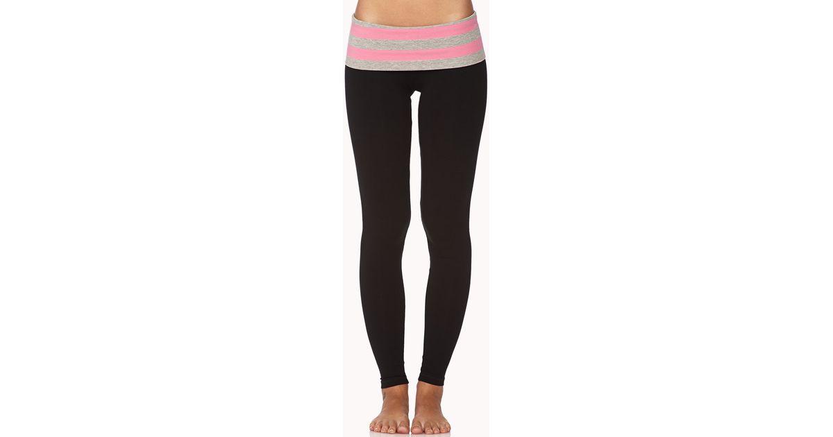 dcaf252c205f0f Forever 21 Skinny Foldover Yoga Pants in Black - Lyst
