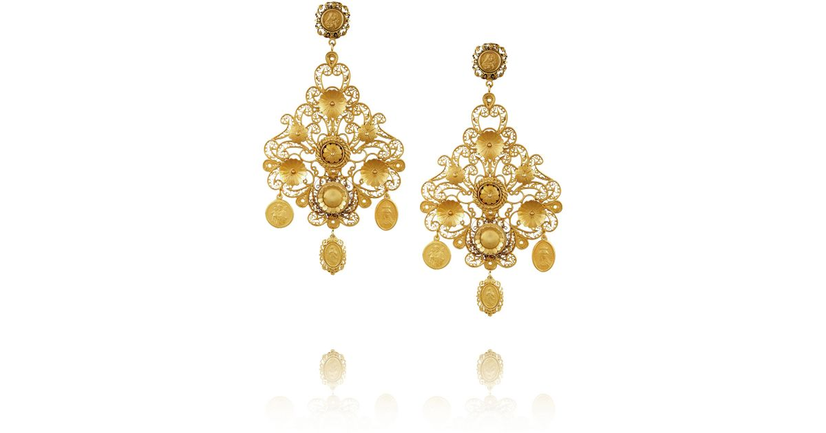 510cd20f8e4 Lyst - Dolce   Gabbana Filigrana Gold Plated Chandelier Clip Earrings in  Metallic