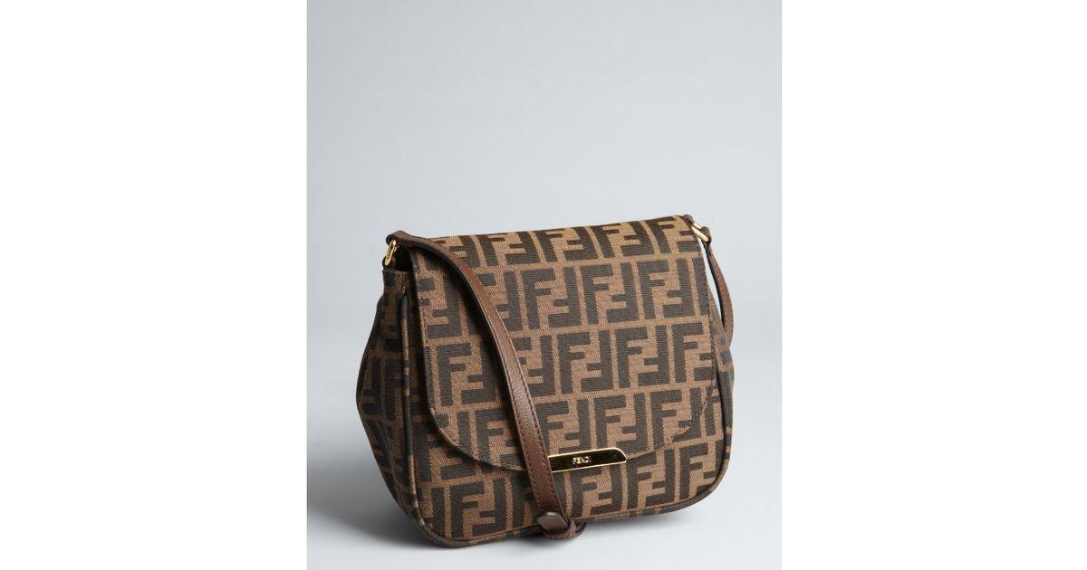 5ea6968b1078 purchase lyst fendi tobacco and brown zucca canvas crossbody bag in brown  3a0e7 da396