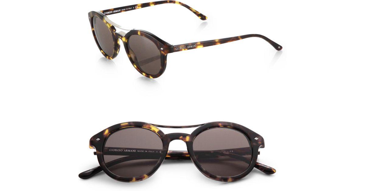 9d86b423e9d7 Lyst - Giorgio Armani Round Brow Bar Sunglasses in Brown for Men