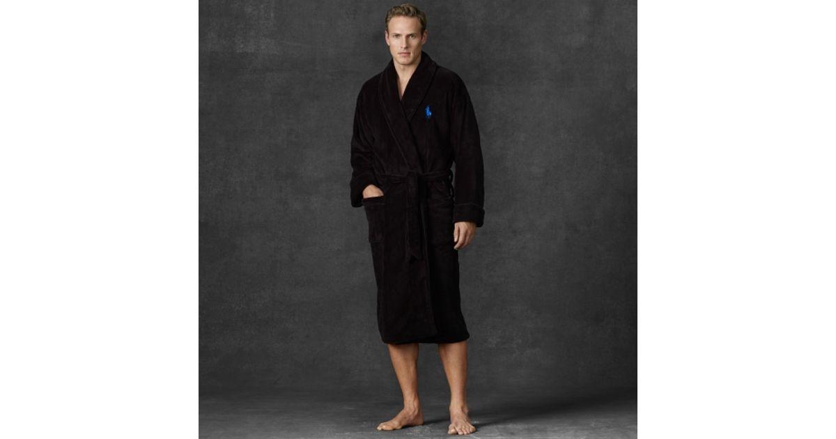 Lyst - Polo Ralph Lauren Chenille Shawlcollar Robe in Black for Men f5cd7c6bf