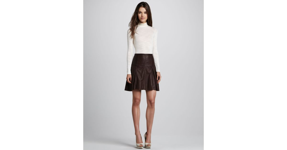 flared leather skirt in brown lyst
