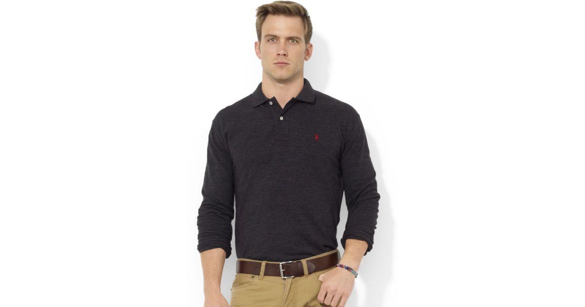 Lyst - Ralph Lauren Classicfit Longsleeve Cotton Mesh Polo in Black for Men 165501548141