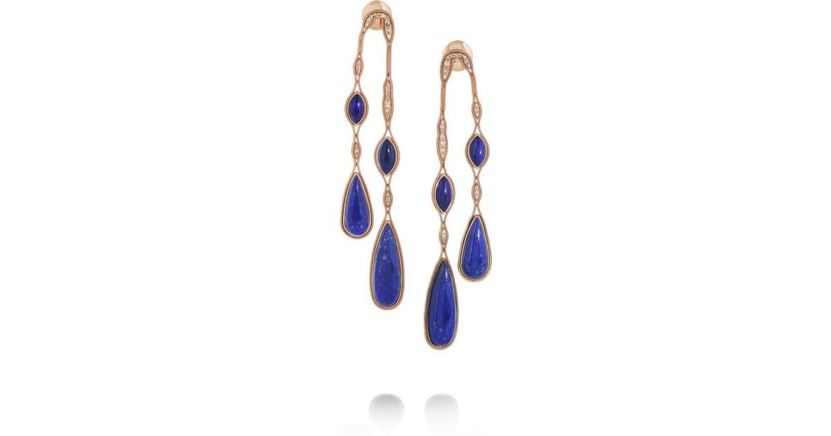 Lyst Fernando Jorge 18karat Rose Gold Lapis Lazuli And Diamond Earrings In Blue