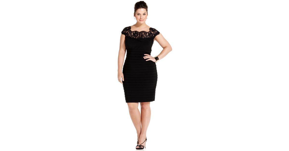Lyst Xscape Plus Size Dress Capsleeve Lace Shuttertuck Bodycon In