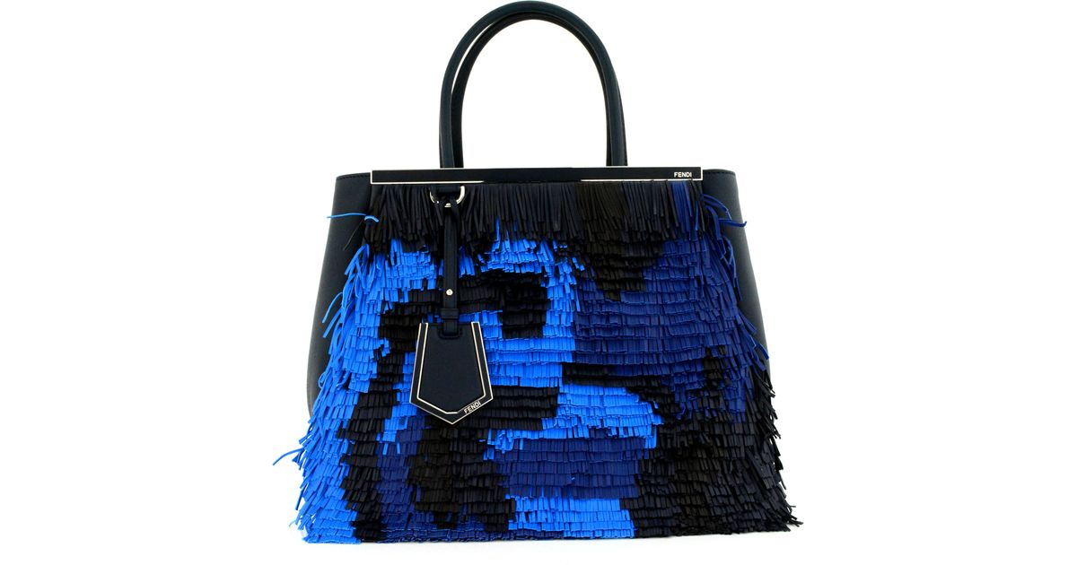 Lyst - Fendi Navy and Blue Fringe 2 Jours Tote in Blue 94d411329b7a7