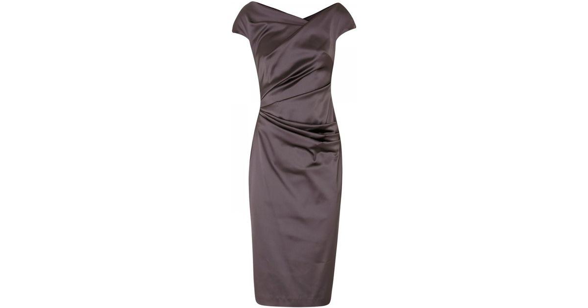c01d0d276c8a9 Talbot Runhof Romania Stretch Duchess Satin Dress in Brown - Lyst