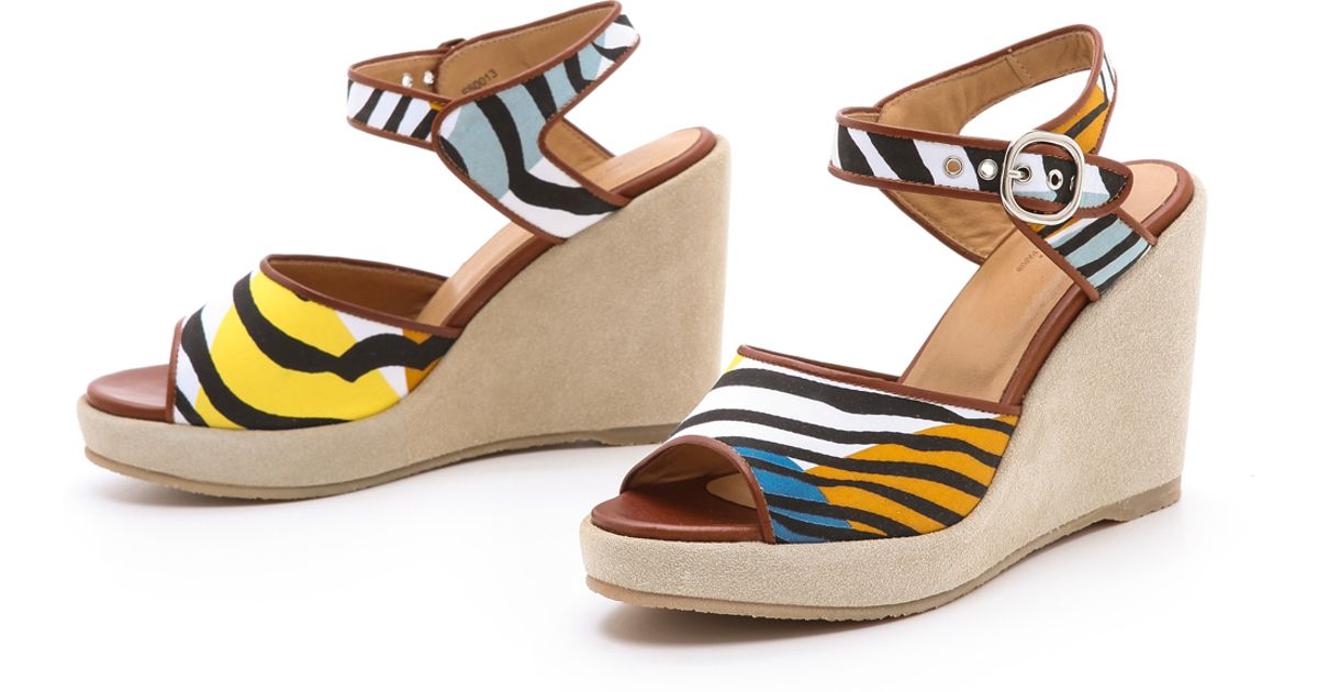 a p c zebra wedge sandals lyst