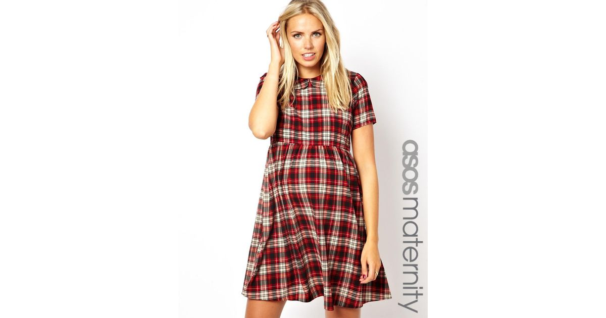 371fa5575b3 ASOS Smock Dress with Tartan Check with Collar in Red - Lyst