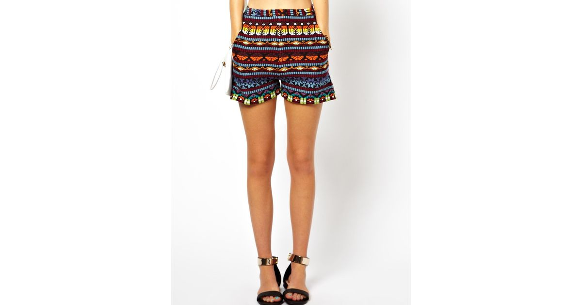 Asos High Waisted Shorts in Aztec Embroidery | Lyst
