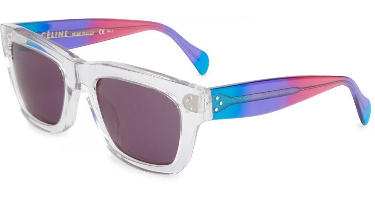 efdace535e Céline Wayfarer Style Clear Acetate Sunglasses - Lyst