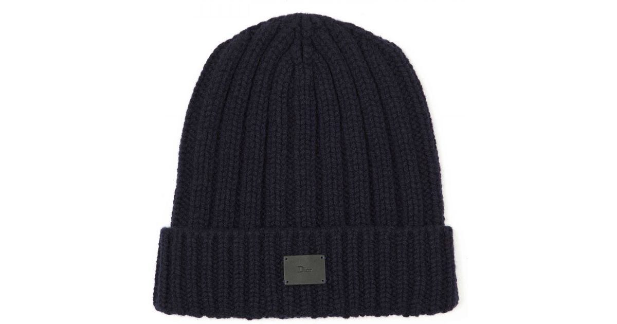 922d0124024 Dior Homme Chunky Knit Wool Hat in Blue for Men - Lyst