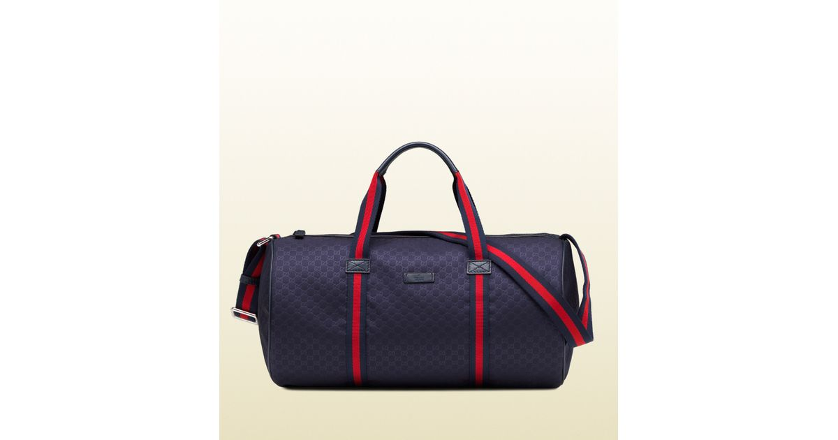 Lyst - Gucci Blue Micro Gg Nylon Gym Bag in Blue for Men