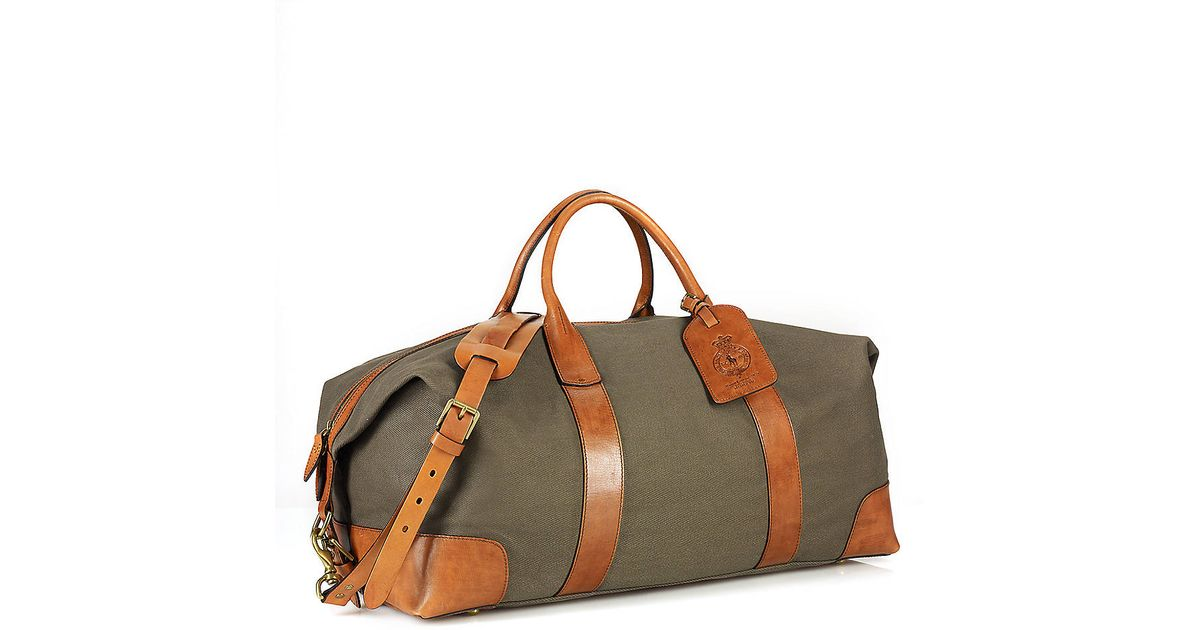 ... coupon code lyst polo ralph lauren canvas leather duffel bag in natural  for men 8836c 7e451 ... fe959c6568