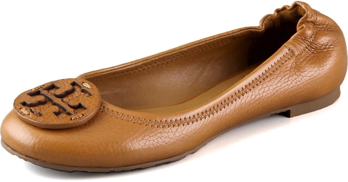 43fafafc3c0d0a Lyst - Tory Burch Reva Tumbled Logo Flats in Brown