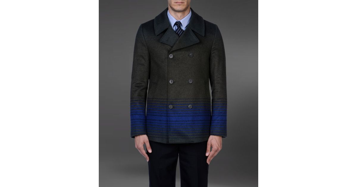 1a145d7eb9375 Lyst - Emporio Armani Double Breasted Pea Coat with Shaded Stripes in Gray  for Men