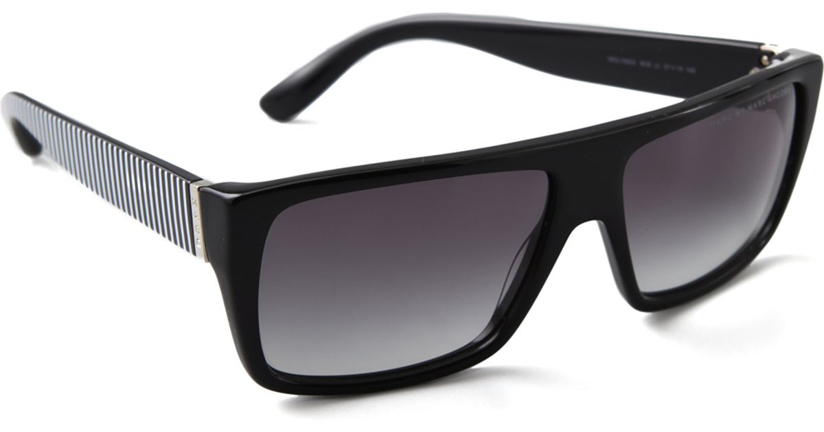 ba090371858 Lyst - Marc By Marc Jacobs Side Stripe Sunglasses Blackblackwhite in Black